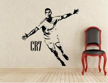 Sports Soccer Kids Room Decor CR7 Celebrating Posters Vinyl Cut Wall Decals Cristiano Ronaldo Football Sticker Stencils(China)