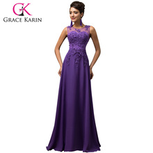 Grace Karin Plus Size Appliques Beading Chiffon Long Evening Dress Formal Party Prom Gowns Robes De Soiree Evening Dresses 2017