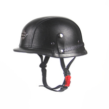 Open Face Half Leather Helmet Harley WWII Style BLACK German Motorcycle Half Helmet Chopper Biker Pilot Vespa(China)