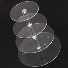 New Assemble and Disassemble Round Acrylic 4 Tier Cupcake Cake Stand For Birthday Wedding Party Cake Shop Home(China)