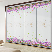 large size creatively pastoral romantic purple 3d flowers plastic DIY mural art wall sticker living room shop glass home decor