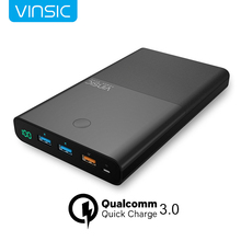 Vinsic 28000mAh Power Bank 18650 QC3.0 Quick Charge 3 USB Output Portable Fast Charging External Battery Pack Charger for iphone(China)