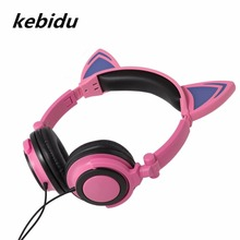 Kebidu Foldable Headphones Lovely Luminous Cute Cat Ear Headset LED ligh Flashing Gaming Headsets For Sumsung Xiaomi PC Phone(China)