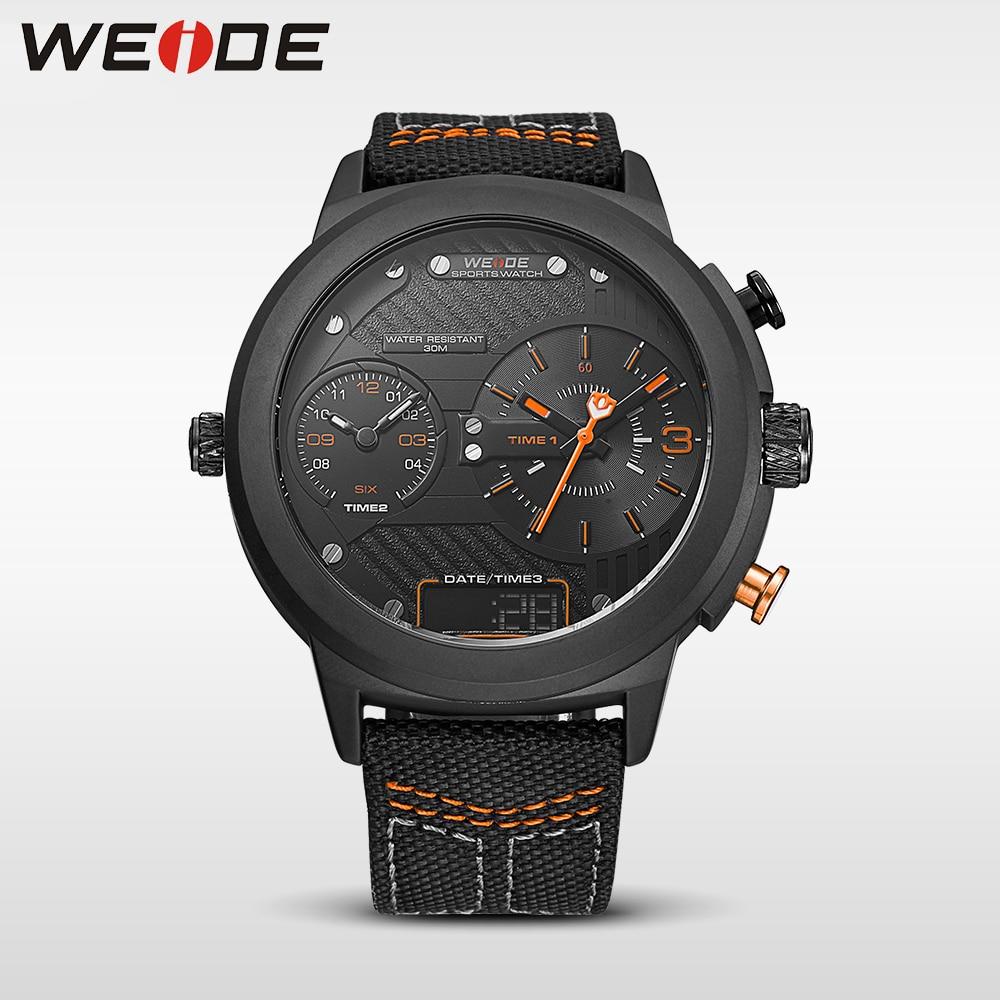WEIDE 2017 NEW sport Black big disc fashion &amp; casual automatic self-wind pocket watch men quartz luxury brandanalog nylon strap<br>