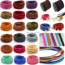 3mm 10yds Flat Faux Suede Braided Cord Korean Velvet Leather DIY Handmade Beading Bracelet Jewelry Making Thread String Rope(China)