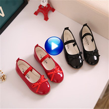 Fashion Girls Shoes Hotsale Little Girls Dress Shoes Black Red Soft Children Designer Flats Size 21-36