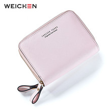 WEICHEN Double Zipper Designer Brand Fashion Leather Women Wallets Mini Purse Lady Small Leather Wallet Card Holder Coin Pocket