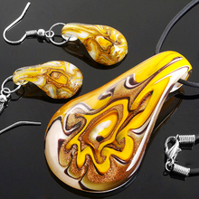 6 Sets/Lot Lampwork Glass Murano Foil Pendant Necklace Earrings FASHION