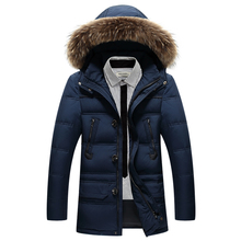 Winter Jacket Men 90% White Duck Down Long Jackets Keep Warm Coat Casual Men's thick Winter Jackets Mens With Fur Hoodies 2597