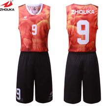 red fire digital sublimation printing custom basketball kits your own design basketball jersey customizing(China)