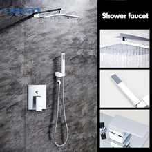 "New 8"" Rainfall Shower Head System Polished Chrome Bath & Shower Faucet Bathroom Luxury Rain Mixer Shower Combo Set Wall Mounted"