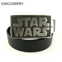 Men's Black PU Leather Belts Western Cowboy Star Wars Letters Rectangle Belt Buckle Metal For Men Jeans Casual Cinturon Hombre(China)