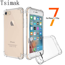 For iphone 7 Plus Transparent 3D Shockproof Case for iPhone 6 6s 7 Phone Cases Cover Candy Color Crystal Soft TPU Silicone Gel