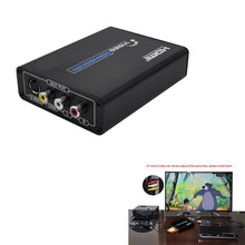 Mini HD Video Converter Box HDMI to RCA/SVIDEO AV Converter Adapter Support 720P/1080P with RCA/S-video Cable L