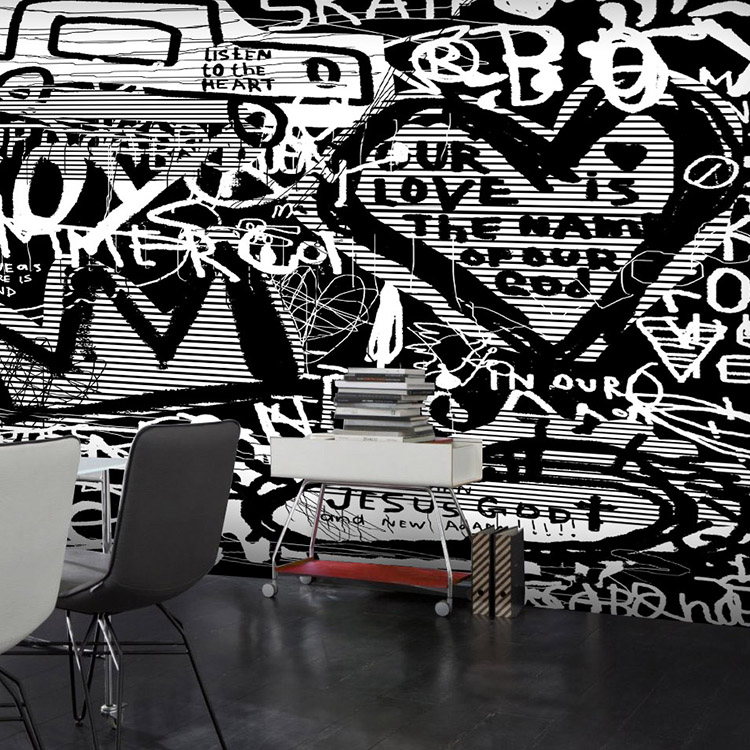 Free Shipping Retro Black and white graffiti 3D cartoon letters wallpaper decorating Bar Cafe clothing store wallpaper mural<br><br>Aliexpress