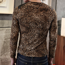Long Sleeve Leopard Splice Leather Motorcycle Tee Shirt Homme T Shirt Mens T Shirts Fashion 2017 Hip Hop Fashion Brand Clothing(China)