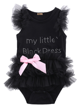 baby bodysuit 2016 wholesale newborn baby girls clothes little black lace tulle sleeveless bodysuit outfits(China)