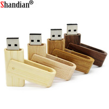 SHANDIAN LOGO customized rotatable Wooden pen drive personality gift wooden USB flash drive memory stick pendrive 8GB 16GB 32GB(China)