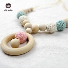 Let's Make Baby Wooden Teether Crochet Beads 26 Colors Baby Car Seat  Hanging Baby Crib Toys Rattles Nursing Necklace