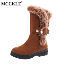 MCCKLE Ladies Warm Plush Fur Winter Snow Boots 2017 Fluffy Women's Thick Heel Platform Slip On Buckle Solid Mid Calf Shoes(China)