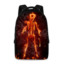 17 inch Fire Skull pattern cool school backpack boys and girls cool laptop bag can store 15 inch computer
