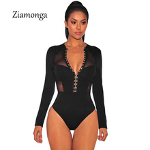 Ziamonga Fashion Design Cropped Mesh Patchwork Long Sleeve Black Bodycon Playsuit Button Hook Unique Design Women Sexy Bodysuit(China)