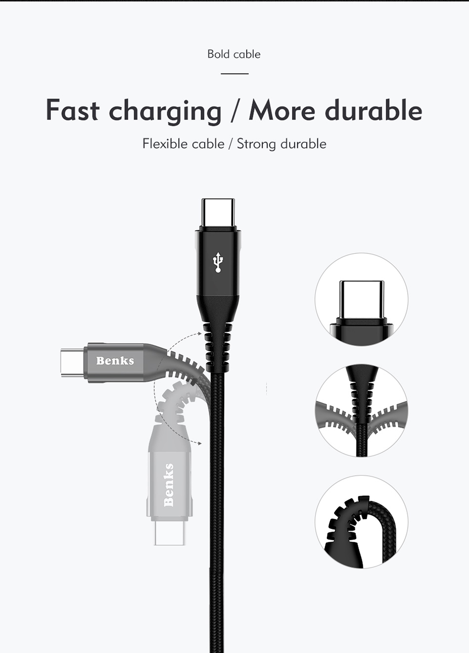 Benks Nylon USB Type C Fast Charging Cable For Samsung S8 S9 Huawei P10 P9 Plus Xiaomi 6 5 Android  Phone 5A Charger Cables 1 (7)