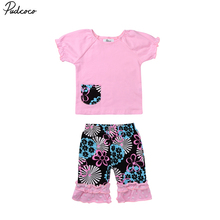 1-6T Floral Toddler Kids Baby Girl Best Friend Outfits cute Short SleeveT-shirt Tops Printed Pants Shorts 2PCS Kids Clothes