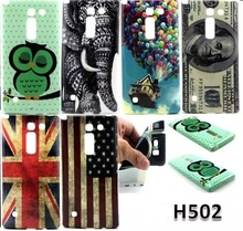 Fashion Retro tape Cartoon Owl USA UK flag ShockProof soft TPU Silicon Case Cover For LG Magna H502 H502F With stylus pen gift