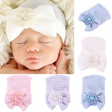 Puseky Newborn Baby Infant Toddler Girls Bow Flower Soft Hospital Cap Beanie Cute Hat 0-6M Photograf Prop(China)