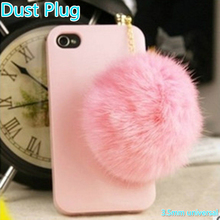 Dustproof 3.5mm universal lovely cute furry plush pure hair ball phone earphone anti dust jack plug cap for Apple iPhone Samsung