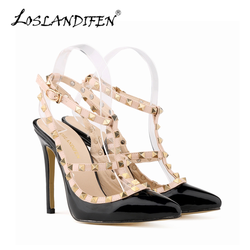 LOSLANDIFEN Sexy Shallow Women Pumps Fashion Pointed Toe High Heels Shoes For Woman Rivets Platform Pumps Wedding Shoes 952-3PA<br><br>Aliexpress