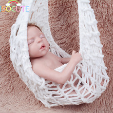 2 Colors Crochet Baby Hammock New Born Photography Props Unisex Knitted White Gray Hammock Photography Accessories 0-3 Months
