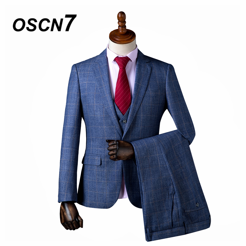OSCN7 2019 Plaid Custom Made Suits Men Slim Fit Wedding Party Mens Tailor Made Suit Fashion 3 Piece HJ-048 049 Custom Supplier