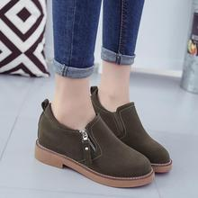 British Style Retro Women Shoes Zipper Martin Casual Shoes Autumn Army Green Height Increasing Flat Heels Shoes Woman Oxfords