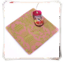1 PCS 22*2cm Chinese Style Handmade Vintage Silk Brocade Rubber Pink Mouse Pads Mat(China)