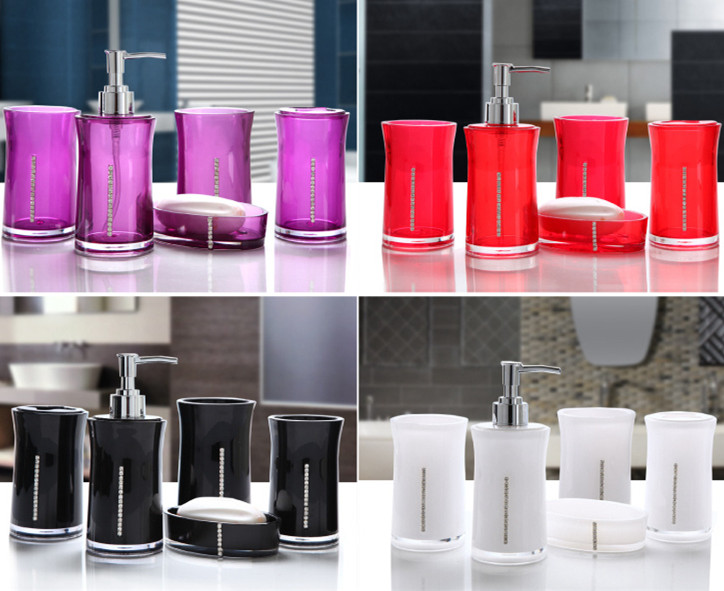 Black and white bathroom accessories sets