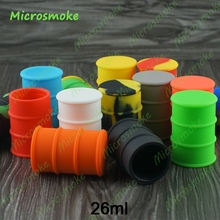 Silicone oil barrel container jars for dab wax vaporizer Oil rubber drum shape container 26ml Food Grade silicone 10pcs/lot