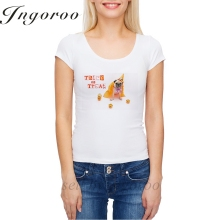 Babaseal Cute Dog With Halloween Pumpkin Looks Surprised Brand Tee Tie Dye Sweet T Shirt Flower Woman Tshirt Unicorn Sexy Top(China)