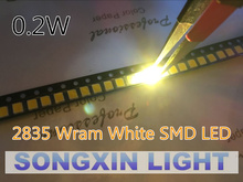 100PCS/lot Warm white 2835 Ultra Bright SMD LED 0.2W 21-23LM light emitting diode chip leds