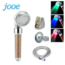 jooe LED Light Shower Heads Negative Ions Temperature Sensor 3 Colors Round Showers Filter Spray Bathroom Accessories je14(China)