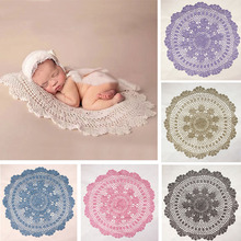 Embroidery Baby Blanket Newborn Photography Props Crochet Mat For Baby Photo Shoot Round Floral Pattern Handcraft Shower Gifts