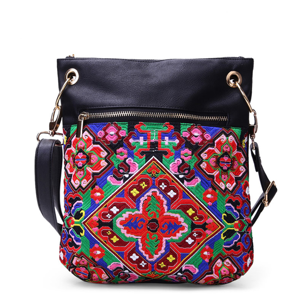 PU leather women soft embroidery bags ethnic vintage Features simple shoulder messenger bags packet female small square hangbags<br><br>Aliexpress