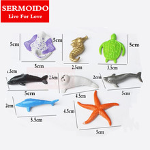 SERMOIDO 8pcs Marine Life Sea Animal Set Whale Shark Octopus Penguin Children Gift Dolphin Turtle Crab Model Toys A163