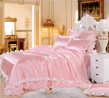 4/6-Pieces Imitated Silk ruffles Luxury Bedding Set King Size Queen Bed Set Wedding Bedding Sets Duvet Cover Bed Sheet Pink