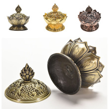Holy Tibetan Lotus Incense Burner Alloy Bronze Mini Incense Burner Incensory Metal Craft Home Decor Free Shipping