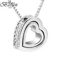 BAFFIN Crystal from Austria Double Heart Necklaces & Pendants Fashion Lovers Valentine's Day Gift CZ Jewelry(China)
