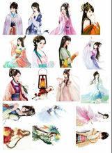 Ancient Antique Notebook Diary Handbook Stickers Adhesive Printer Paper China Han Dynasty Beauty Girl Stickers For Office