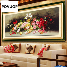 POVUOP ribbon embroidery 125X60cm fashion rose paintings for European style living room restaurant(China)