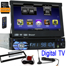 Digital TV one din 1 Din WCE Car DVD Player GPS Navigation Universal In-dash Detachable Front Panel Auto Radio Audio Stereo+TV